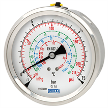Bourdon tube pressure gauge, copper alloy or stainless steel